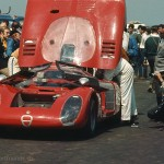1968 Bridgehampton, USRRC - Horst Kwech's Alfa Romeo T33/2 (DNF) in the paddock, the race was won by Skip Scott in a Lola T70; photographed by Jack Webster, USA