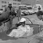 1965 Cesana-Sestriere, hillclimb - Ludovico Scarfiotti in the Ferrari Dino 206P at the start with Gerhard Mitter leaning in