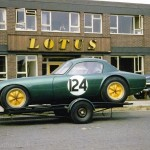 1962 Cheshunt, Lotus factory - David Buxton's Lotus Elite. Up in the middle is Colin Chapman's office where an Australian mechanic once walked by with 2m high stilts and bid him good night!; photographed by Derek Wild, UK