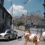 1958 Coupe des Alpes - Ivor Bueb and Jimmy Ray arriving in the Sunbeam Rapier at Isère during the 2450 mile race across the Alps