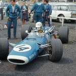 1968 Crystal Palace, XVI London Trophy F2 - Johnny Servoz-Gavin prepares for practice in his Matra MS7-Cosworth FVA; photographed by David Baxter, F
