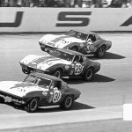1968 Daytona, 7th Annual 24 Hours of Daytona – the three DX Sunray Oil Co. Corvettes captured in the perfect moment: #31 Grant/Morgan, #29 Revson/Yenko, #30 Thompson/DeLorenzo; photographed by Manfred Gygli, A