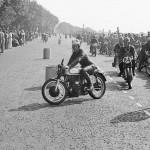 1953 Isle of Man, Senior TT race - warm-up round the barrels, # 82 is Peter Davey (Norton 500cc) and # 84 is R. Pratt (Norton 500cc); photographed by Alfred von Keller, D