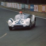 1960 Le Mans, les 24 Heures du Mans - Lloyd Casner and Jim Jeffords shared the Maserati Tipo 61 Longtail (DNF, sand in gearbox). The intricate multi-tubular frame had a weight of 30 kg; photographed by Martin E. Newman, USA