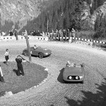 1949 Maloja, hillclimb – M. Fissore (Avalle-Fiat) chasing another special Fiat in one of the many hairpins; photographed by Erich Pfeiffer, CH
