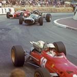 1967 Monte Carlo, 25e Grand Prix Automobile de Monaco – Lorenzo Bandini (Ferrari 312-67) in his fatal race followed by Jo Siffert (Cooper-Maserati T81) and Bruce McLaren (McLaren-BRM M4B)