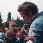 1974 Monza, Gran Premio d'Italia – Ferrari teammates Gianclaudio Giuseppe Regazzoni and Andreas Nikolaus Lauda in a thoughtful mood, both did not finish in their 312B3s