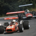 1969 Mosport Park, Continental Formula A - Mike Hiss (9th - Lola T140-Chevrolet V8) followed by George Eaton (17th - McLaren M10A-Chevrolet V8); photographed by Alice Bixler, USA