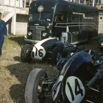 1959 Reims, III Coupe Internationale de Vitesse – Roy Salvadori's Cooper T43-Climax FPF (DNF) and Maurice Trintignant's Cooper T51-Climax FPF (4th) in the paddock