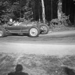 1948 Rheineck-Walzenhausen, hillclimb – Shifting gears! Kenneth Noel Hutchison speeds through in the Alfa Romeo Tipo B from 1935; photographed by Erich Pfeiffer, CH