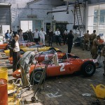 1961 Spa-Francorchamps, Grand Prix de Belgique – Carlo Chiti and his mechanics in the Ferrari paddock. The four successful Ferraris 156 took victory, 2nd, 3rd and 4th place; photographed by Martin E. Newman, USA