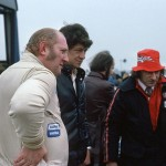1975 Thruxton – two true legends of British motorsport in the paddock: Gerry Marshall and Tony Lanfranchi; photographed by Tim Harrison, UK