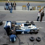 1977 Zolder, Grand Prix du Belgique – Patrick Depailler's Tyrrell P34-Ford V8 (finished 8th) in the pits. No chance here for a 2.5 second tire change; photographed by Andreas Hackbarth, D