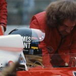 """1978 Zolder, Grand Prix de Belgique – Ray Grant aka """"Kojak"""" checks James Hunt's belts in the McLaren-Ford M26 who later collided with Patrese; photographed by Andreas Hackbarth, D"""